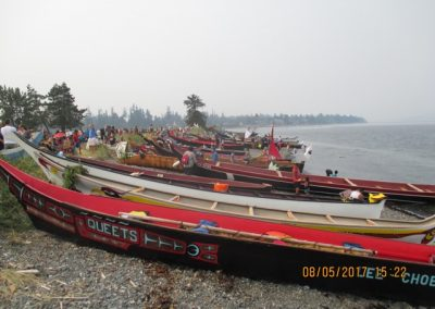 Some of the 100+ canoes after coming ashore, Tyee Spit