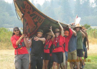 Bringing a canoe ashore